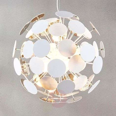 White pendant lamp Kinan with panes