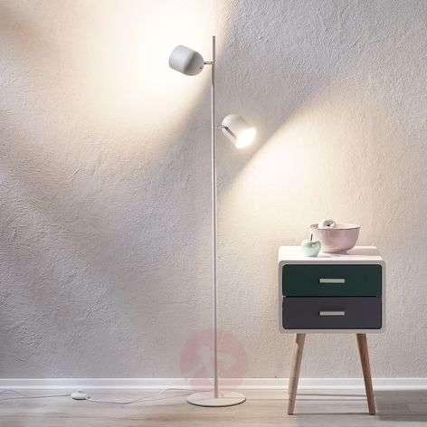 White-silver floor lamp Morik, two-bulb