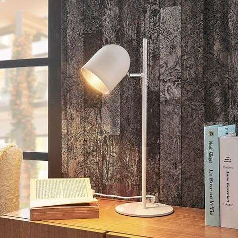 White-silver table lamp Morik in a modern style