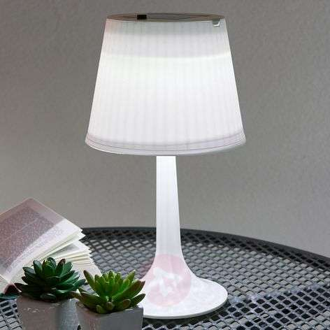 White solar table lamp Jesse with LEDs