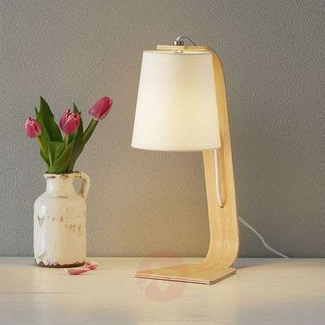 White wood Nordic table lamp with fabric shade