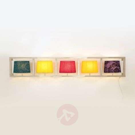 Wide wall light PARECCHI fabric lampshades 5-bulb