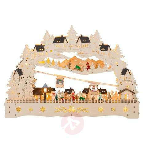 Winter Sports LED candle arch, movable cable car