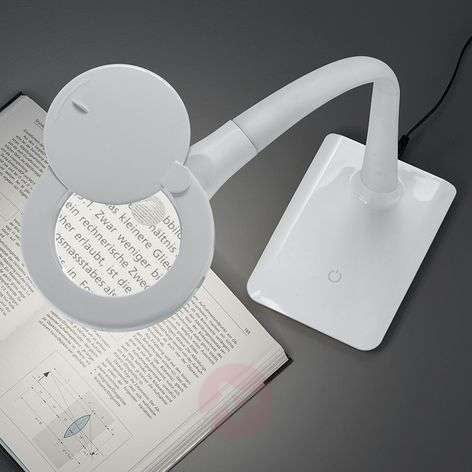 With a base - LED magnifying light Lupo, white