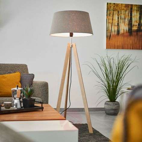 With grey felt lampshade - Thea wooden floor lamp