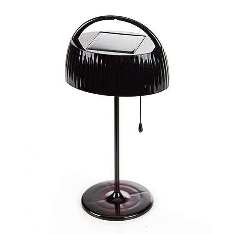 With pull switch solar LED table lamp Tara brown