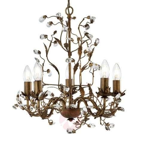 Wonderful Almandite chandelier with 5 bulbs