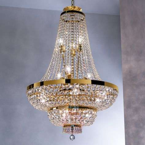 Wonderful crystalchandelier Sheraton, gold-plated
