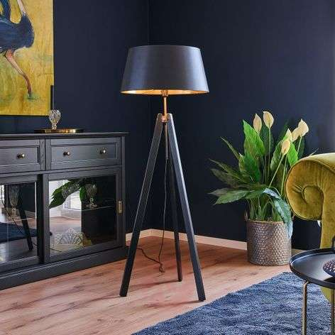 Wood floor lamp Thea with black-gold lampshade