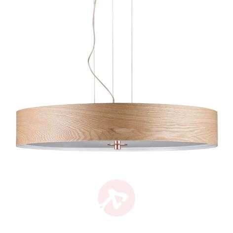 Wood hanging light Liska with copper details