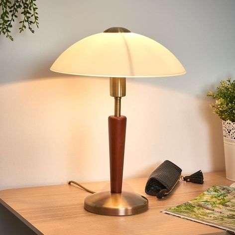 Wood-metal mix table lamp Salut, burnished, nut