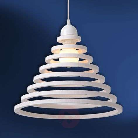 Wood shade with white rings - Tora hanging light