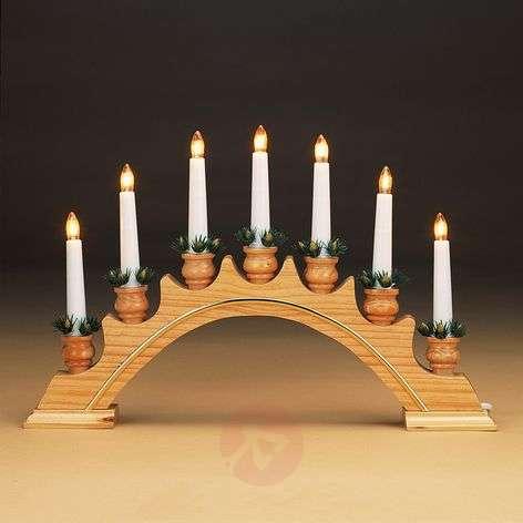 Wooden candleholder, gold trim