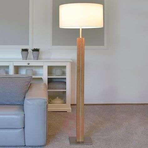 Wooden floor lamp Dana with white fabric shade
