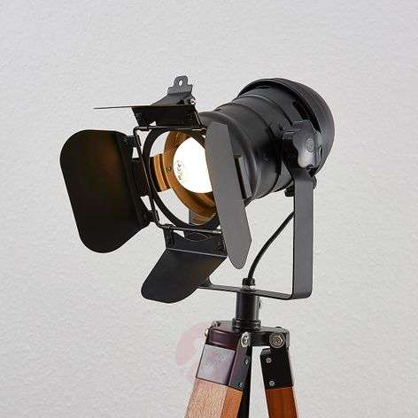 Wooden floor lamp Hilma with tripod frame