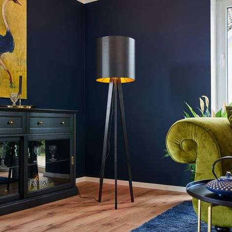 Wooden floor lamp Nida, black-gold lampshade-6722442-31