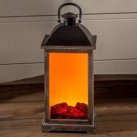 Wooden lantern w. fireplace effect LED transformer