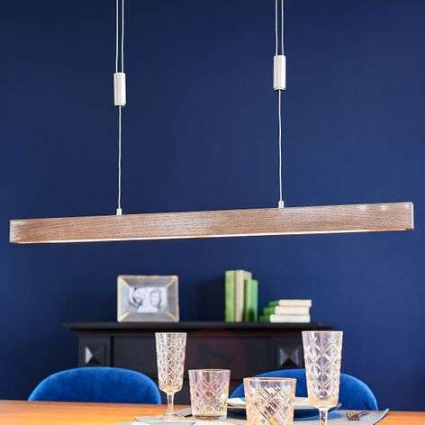 Wooden LED linear pendant light Nora, dimmable