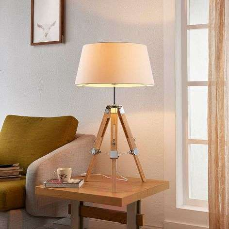 Wooden table lamp Katie with fabric lampshade