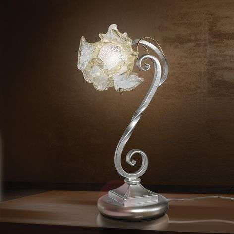 Wrought iron table lamp Rose with Murano glass