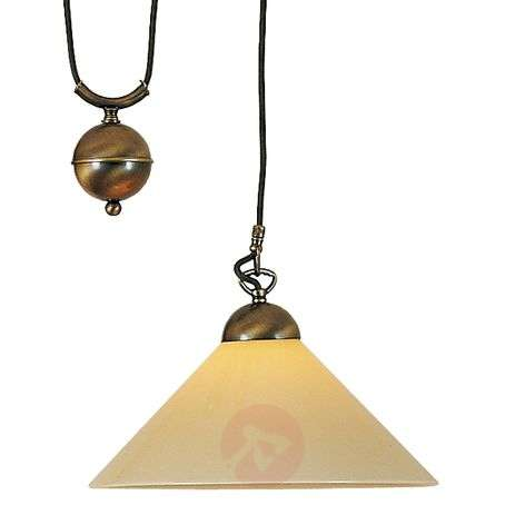 YEAR adjustable hanging light w/ glass lampshade