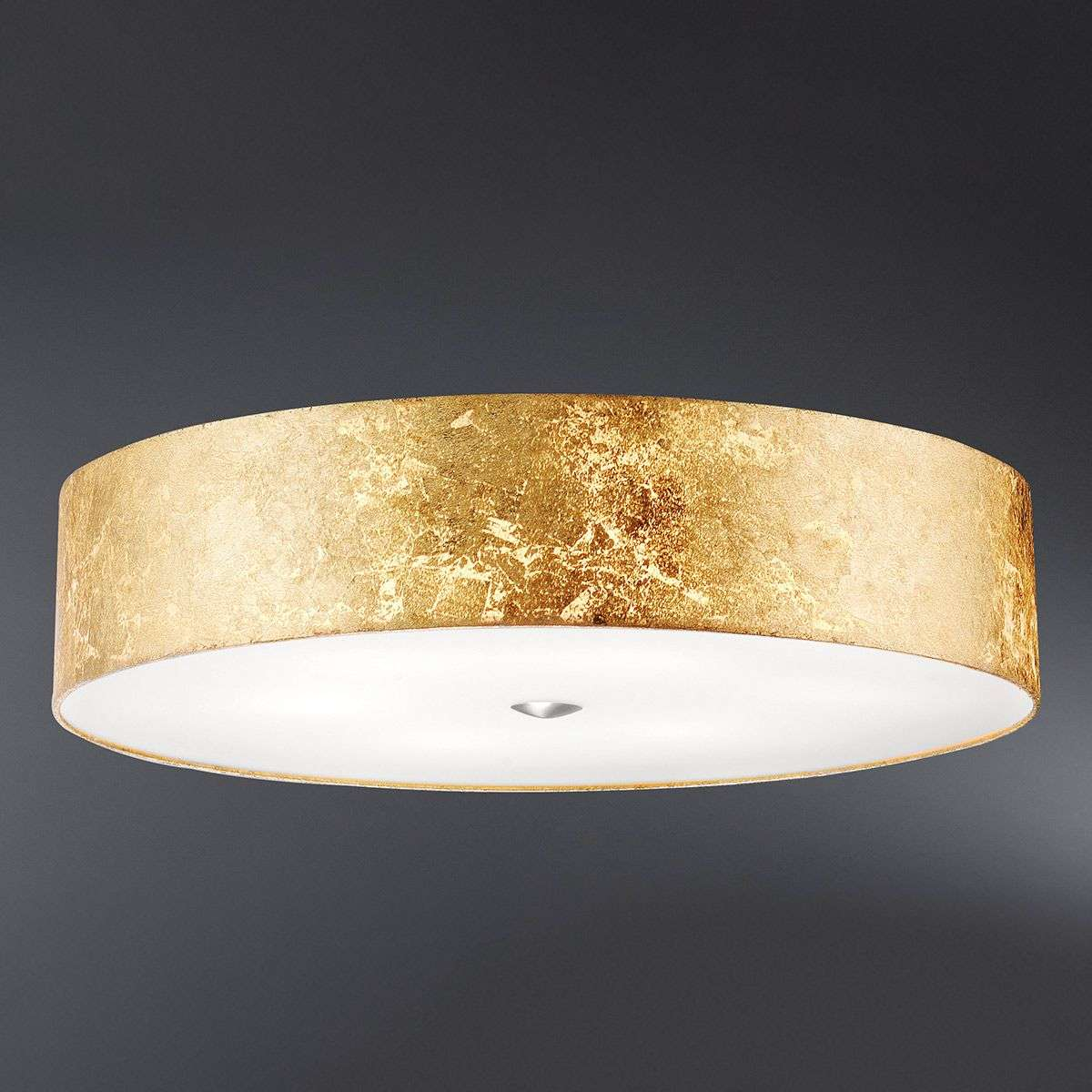 All White With Gold Leaf Ceiling And Degournay Coco: Alea Loop Ceiling Light With Gold Leaf