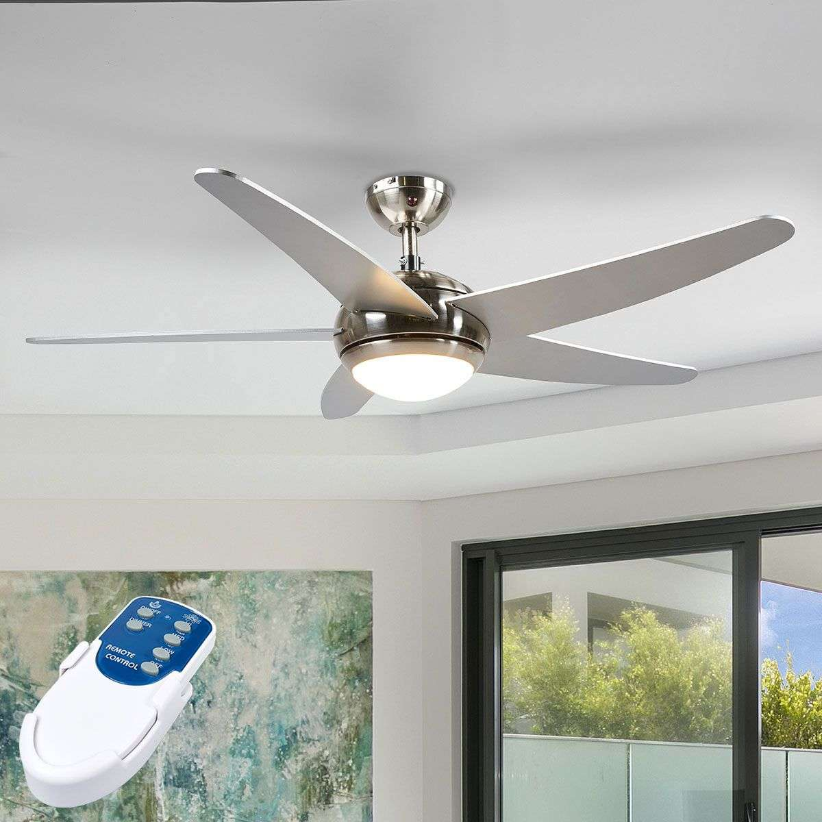 Anneka Silver Ceiling Fan With Led Light