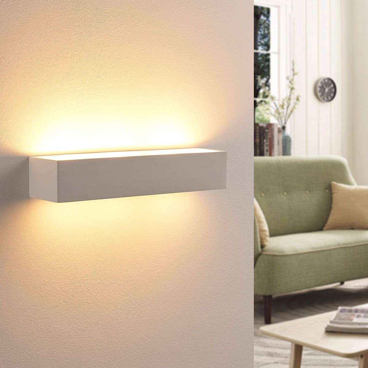 Arya led wall light made of white plaster for Ambienti interni moderni