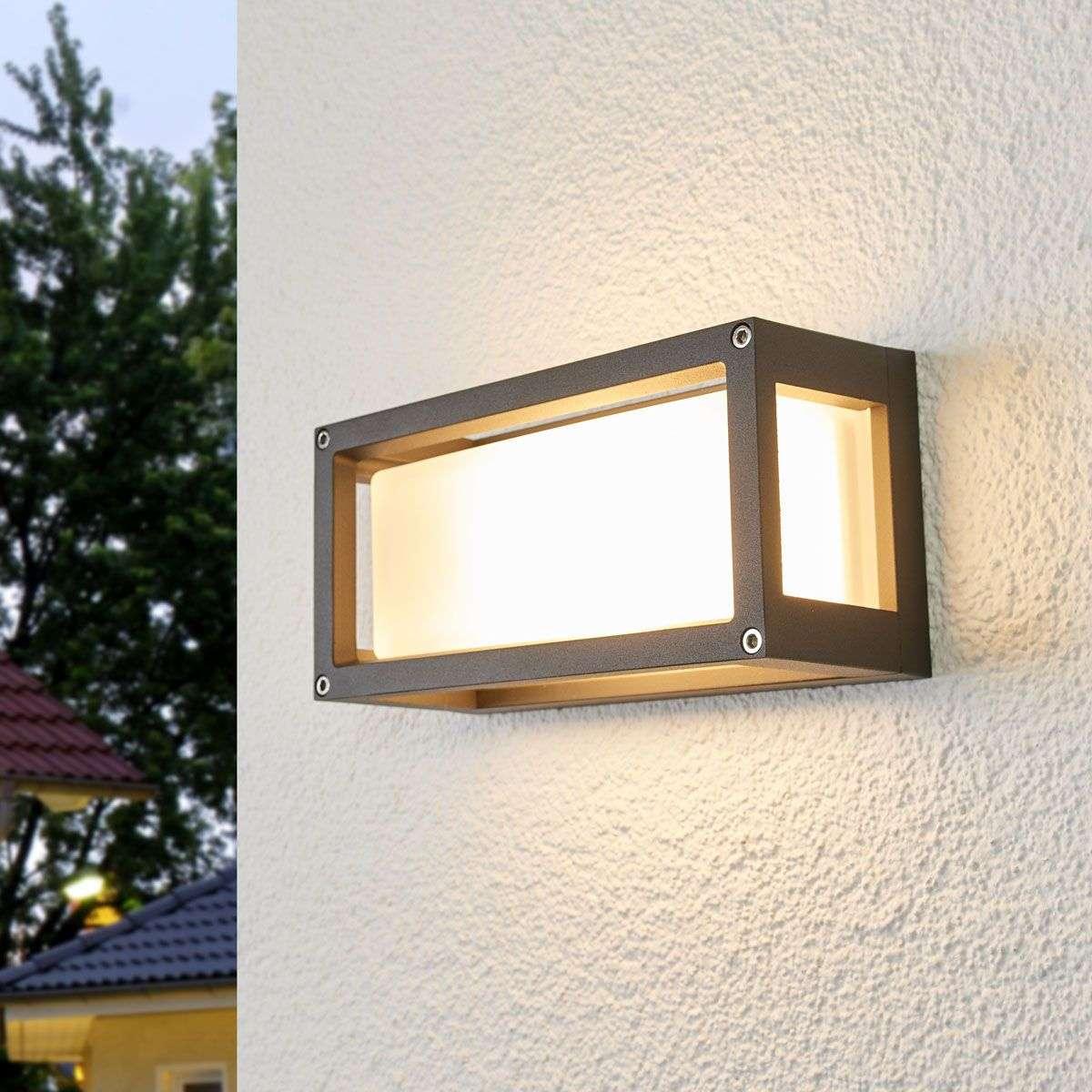 Aurelien - outdoor wall light with grey frame | Lights.ie