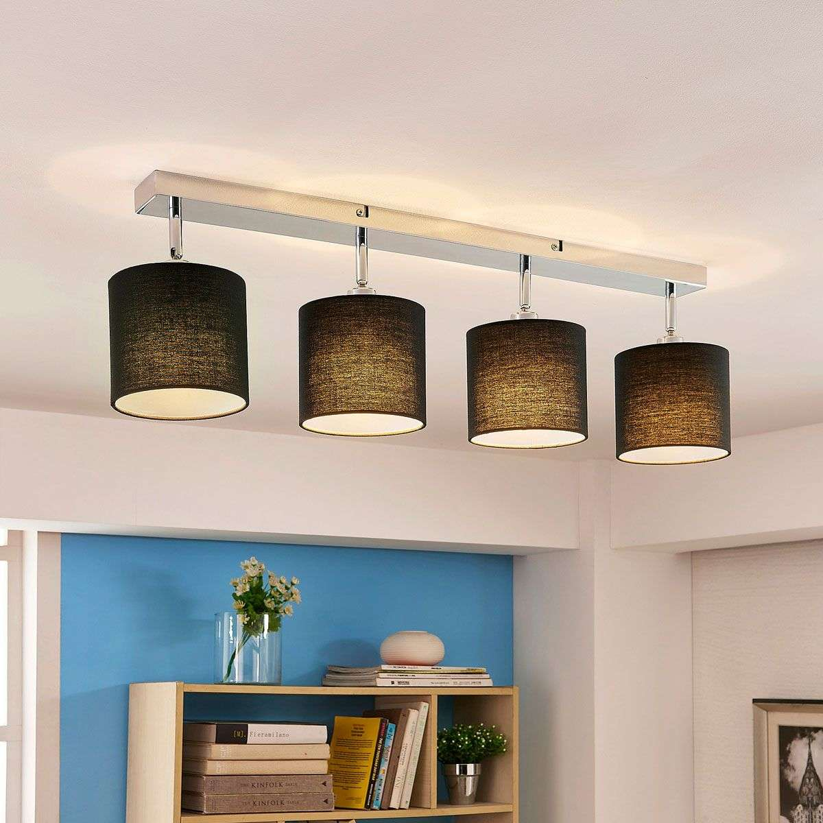 Ceiling lamp mairi with black lampshades and leds lights ceiling lamp mairi with black lampshades and leds 9621109 31 aloadofball Image collections