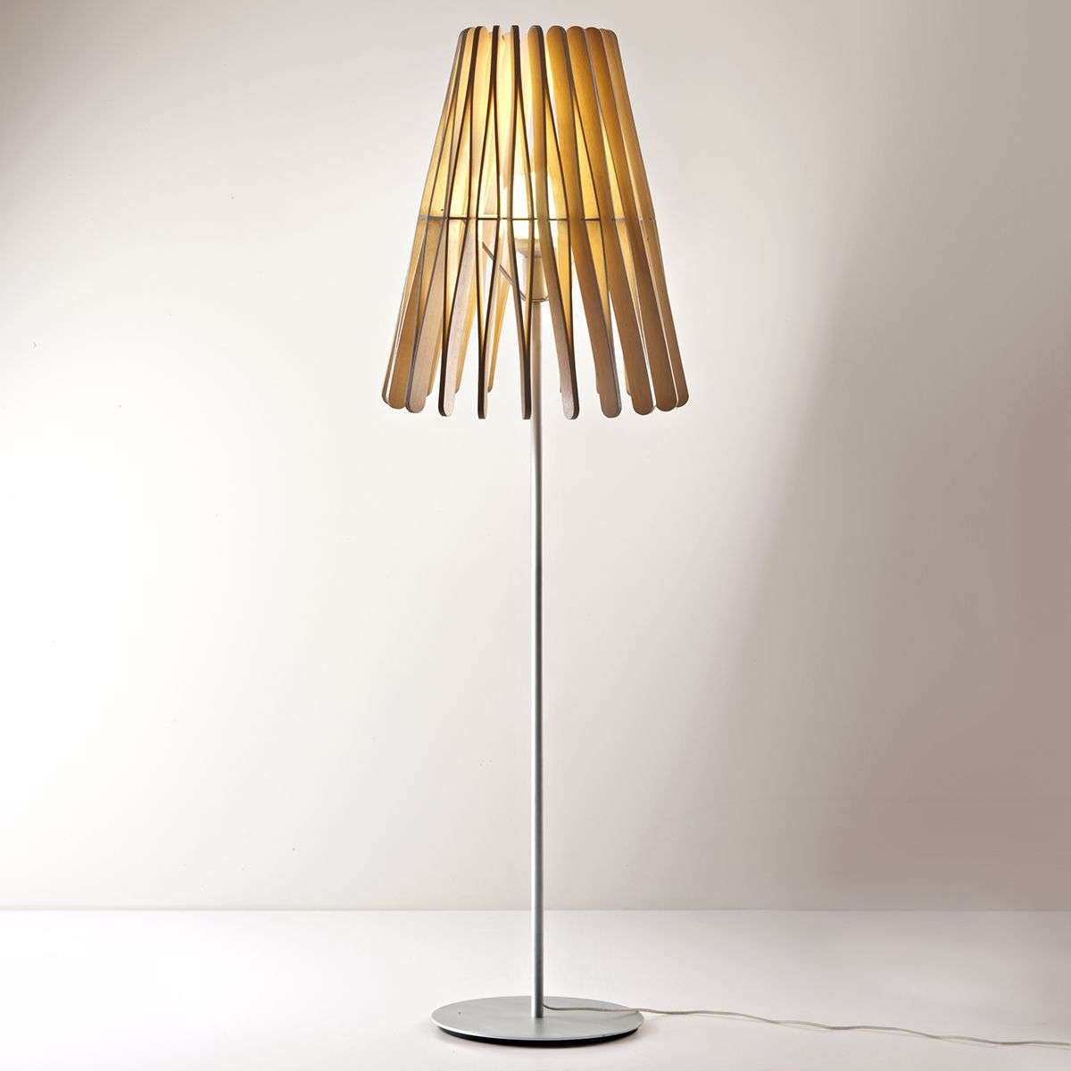 Cone Shaped Stick Floor Lamp Made Of Wood 3503207 31