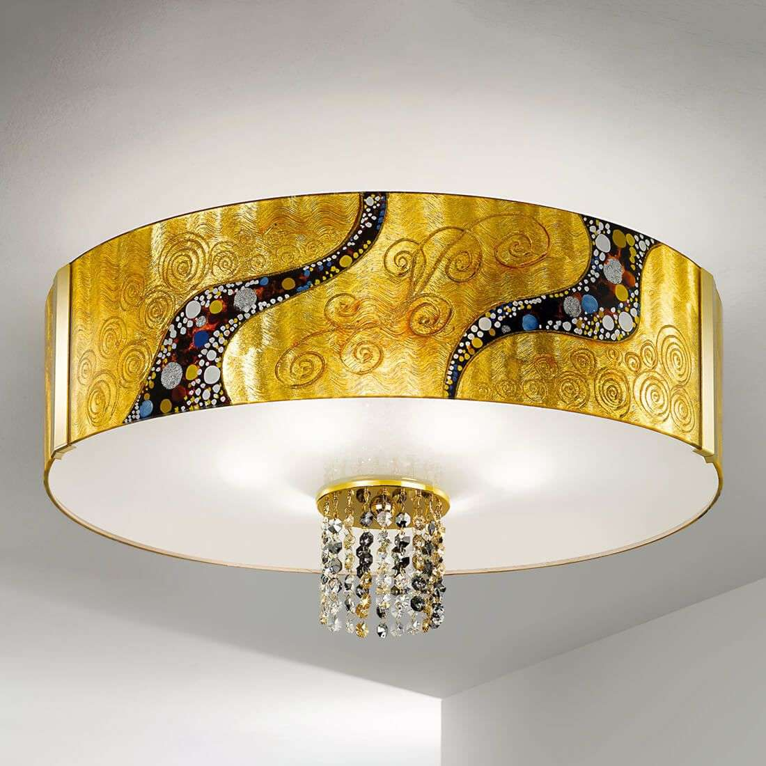 Gold coloured ceiling light emozione kiss lights aloadofball Images