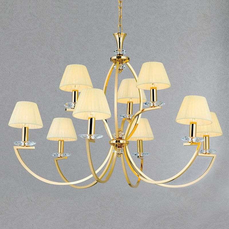 Gold plated chandelier avala with nine lampshades lights gold plated chandelier avala with nine lampshades 7255241 31 aloadofball Image collections