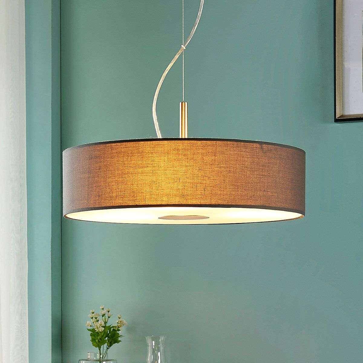fabric pendant lighting. Grey Fabric Pendant Light Dwayne In Round Shape-9621459-32 Lighting L