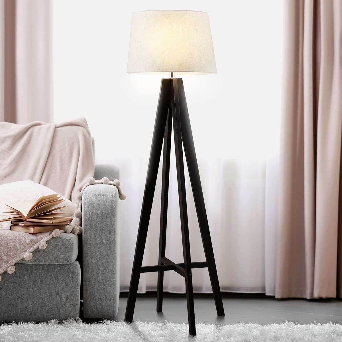 Maura fabric floor lamp with wooden base | Lights.ie