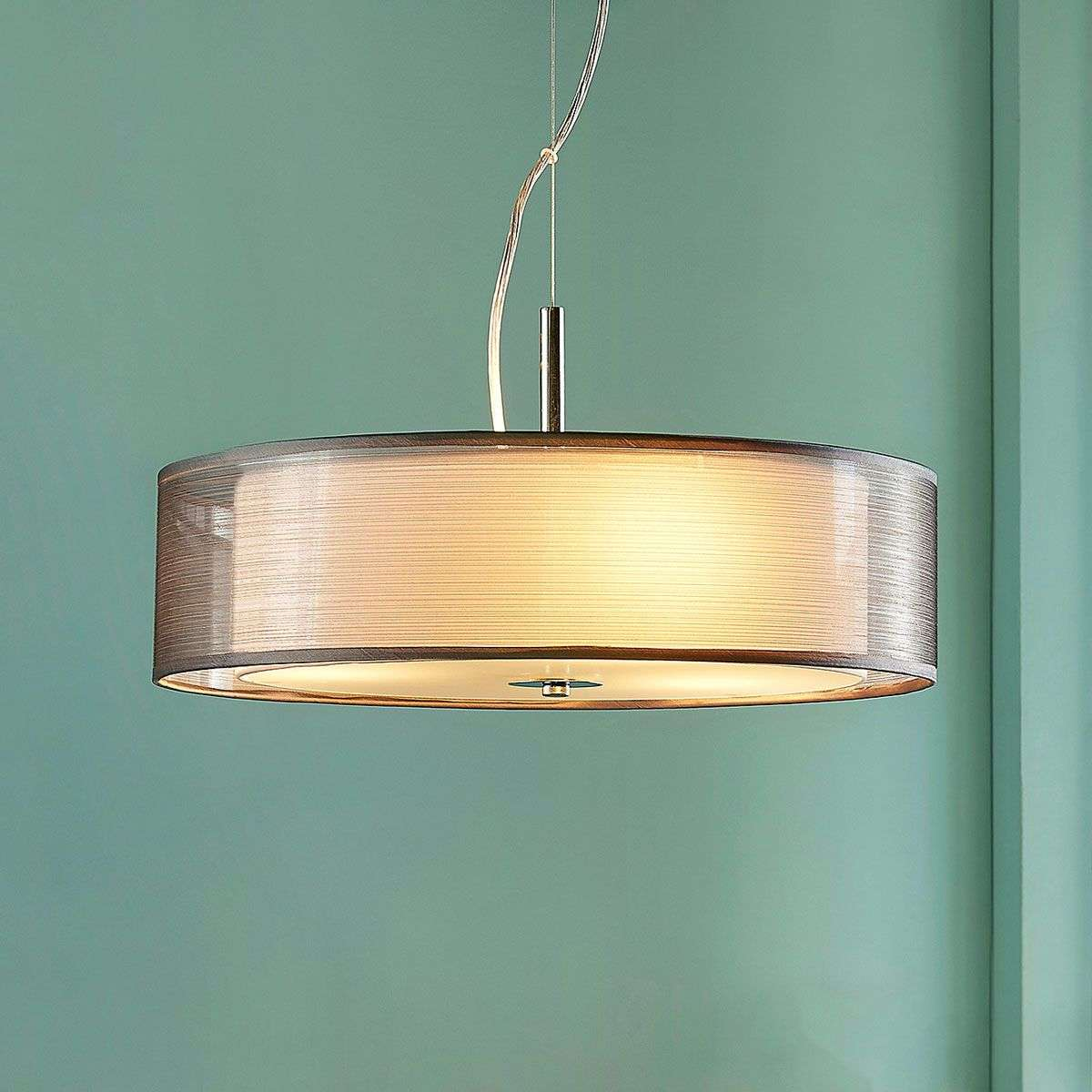 Noralie grey fabric pendant lamp round lights noralie grey fabric pendant lamp round 9621458 32 aloadofball Images
