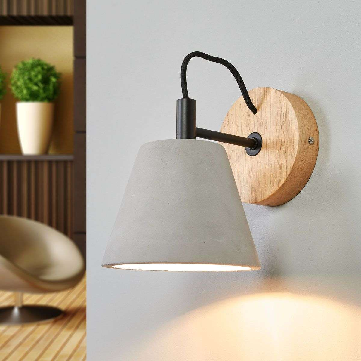 Possio wall light w concrete lampshade and wood lights possio wall light w concrete lampshade and wood 6055259 31 aloadofball Gallery