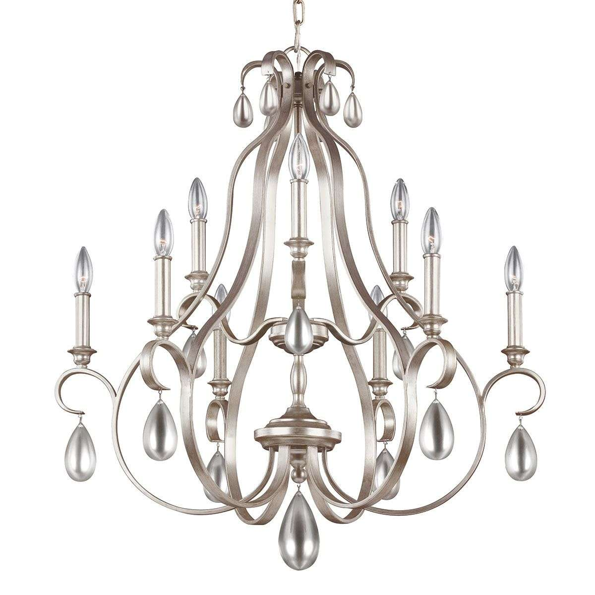 Silver coloured chandelier dewitt nine bulb lights silver coloured chandelier dewitt nine bulb 3048855 31 aloadofball Image collections
