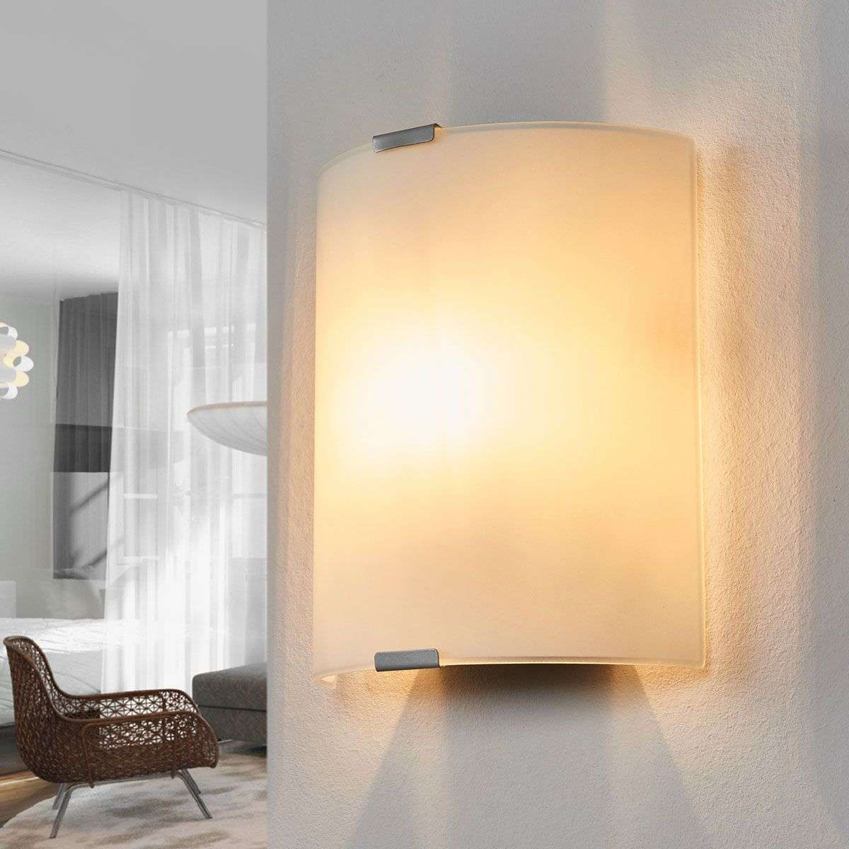 Simple wall light Grey with glass   Lights.ie