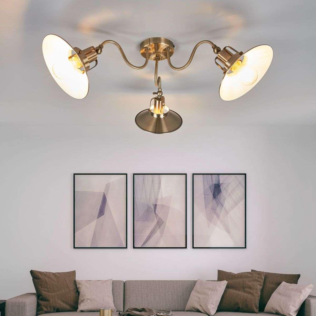 Three Bulb Ceiling Lamp Arkadia In Antique Brass 9639056 32