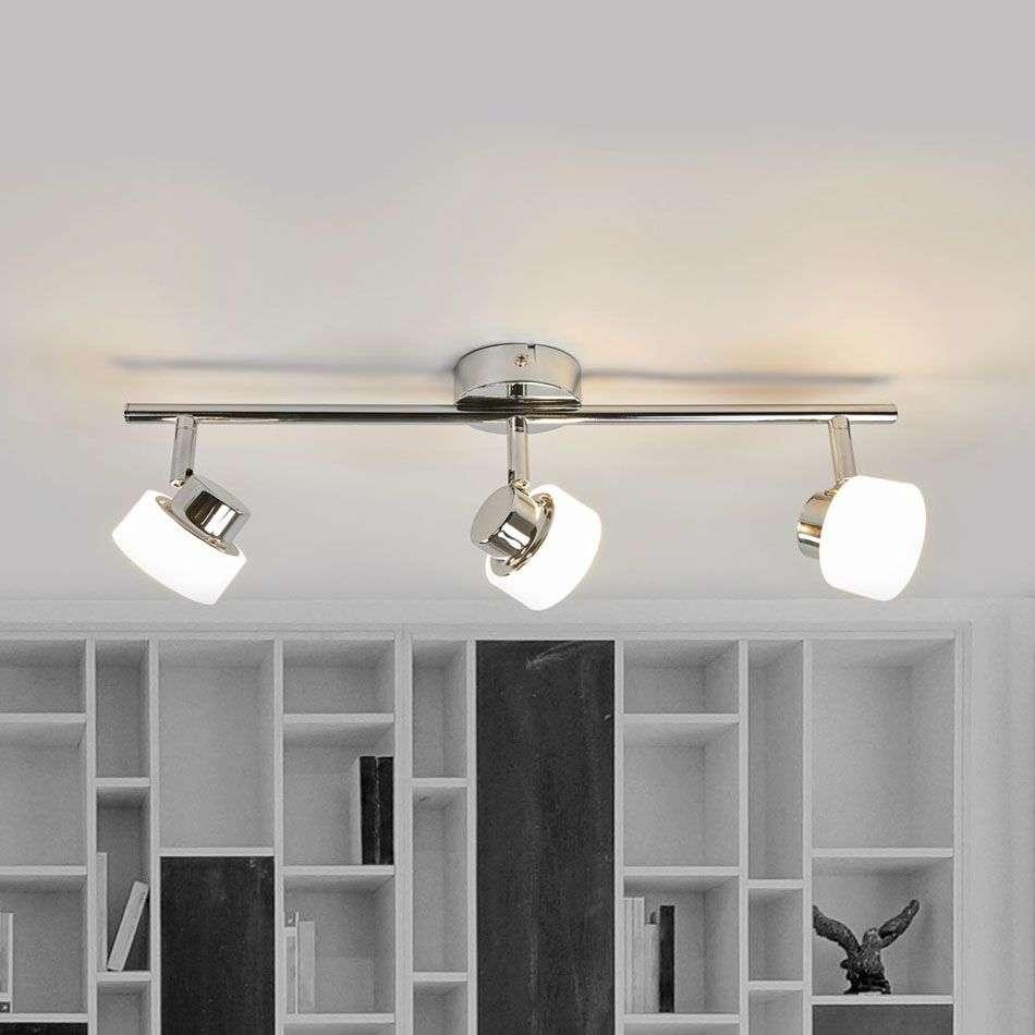 Three Bulb Shia Led Ceiling Light In Chrome 9954008 31