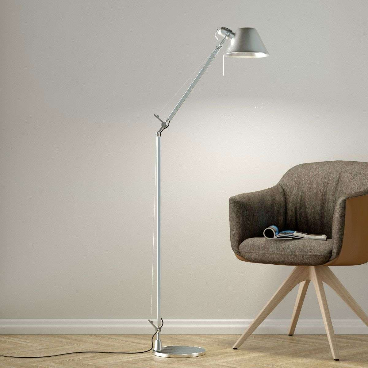lamp century brass with floors floor modernist contemporary modern shades mid lamps reading