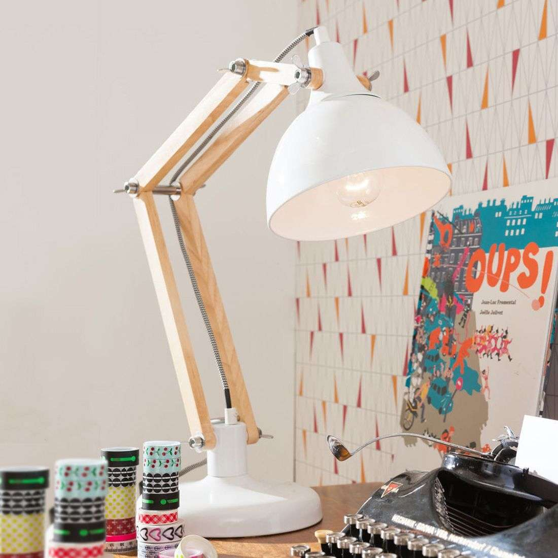 White Desk Lamp Work Station With Wood 5517434 31