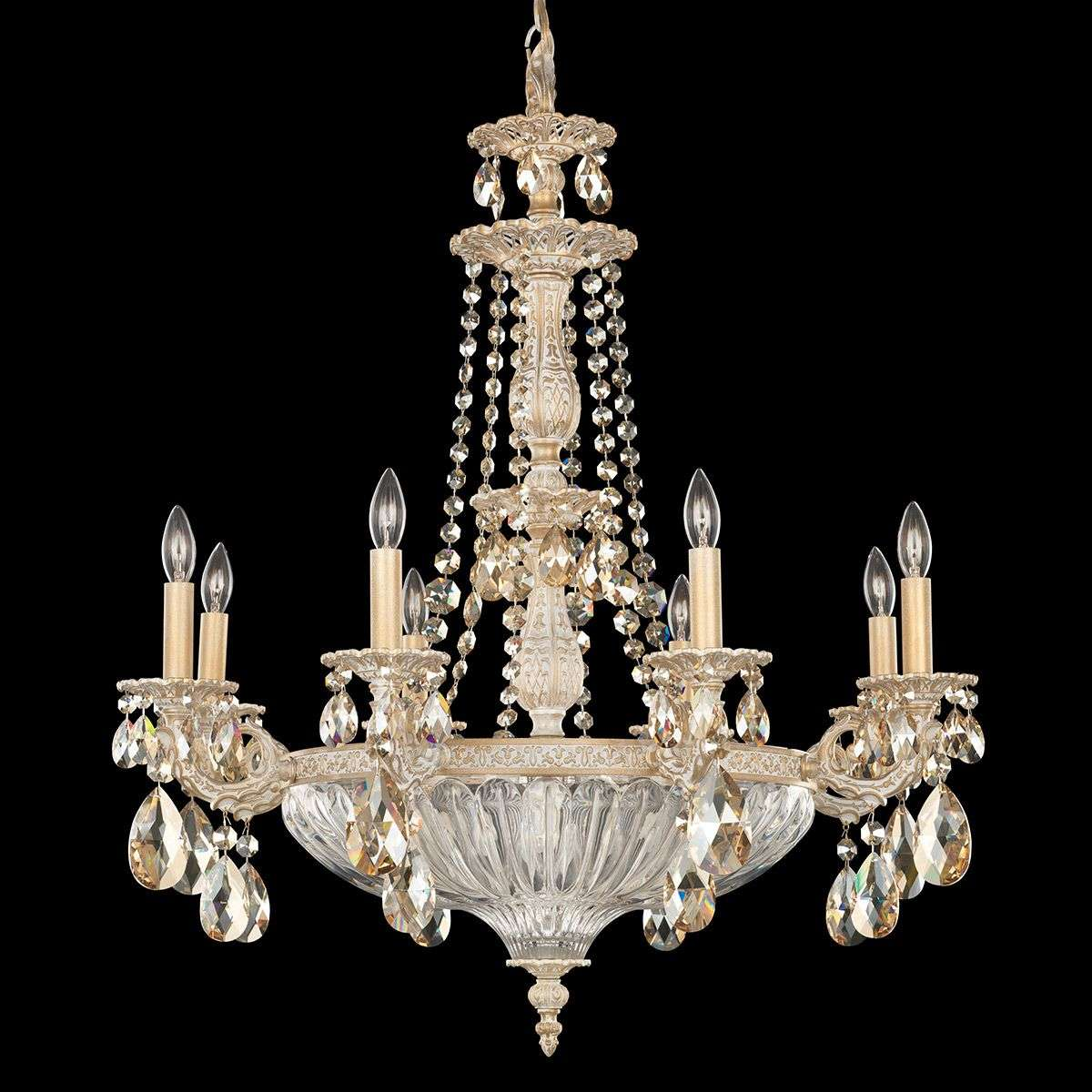 White gold chandelier milano with crystals lights white gold chandelier milano with crystals 8583030 31 mozeypictures Choice Image