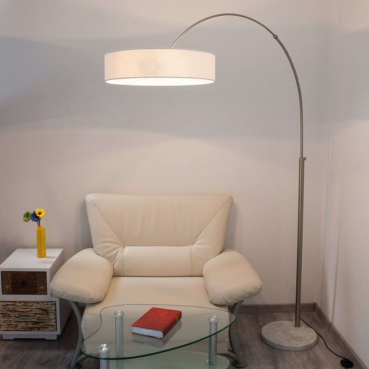 White Shing fabric floor lamp | Lights.ie