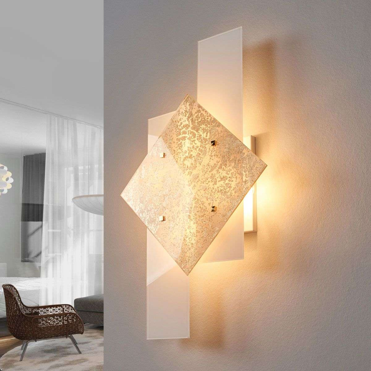 With gold leaf décor - wall light Bandiera 63 cm | Lights.ie